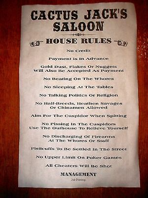 """OLD WEST SALOON CACTUS JACK'S HOUSE RULES POSTER 18""""x30"""" (110)"""