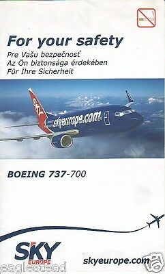 Safety Card - Sky Europe - B737 700 - 2007 (S1641)