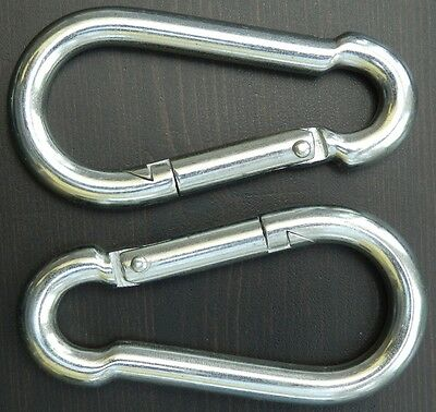 PACKS OF TWO ZINC PLATED CARBINE SNAP HOOKS 5, 6 & 8mm STOCKED