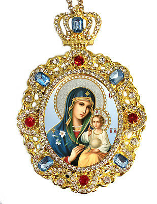 Jeweled Icon Pendant Madonna and Child Virgin Mary Eternal Bloom Room Decoration