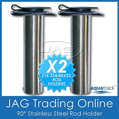 2 x 316 MARINE GRADE STAINLESS STEEL 90° STRAIGHT BOAT FISHING ROD HOLDERS+ CAPS
