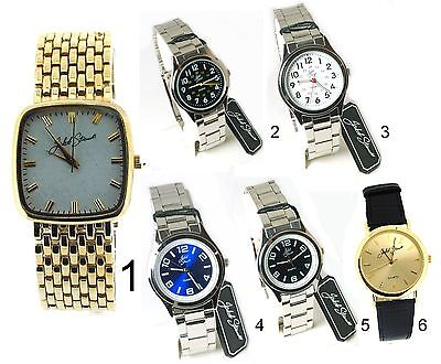 Jakob Strauss Black White Dial Bracelet Metal Leather Strap Mens Gents Watches