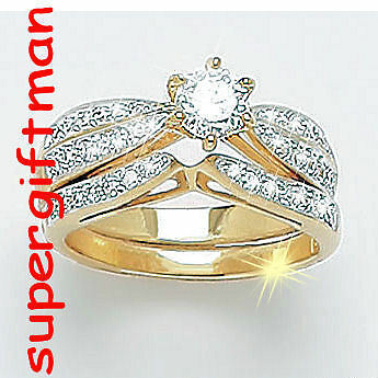 X047 - ensemble de DEUX BAGUES OR DOUBLE AM. / set ringen goud  DIAMANTS CZ T51