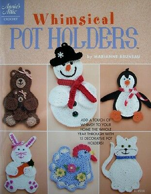 WHIMSICAL POT HOLDERS, Annie's Crochet Pattern Book, SNOWMAN, CAT, CHICKEN, OOP