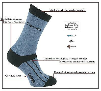 eXPANSIVE TRAVEL HIKING SOCKS CoolMax Lycra Denim Blue ANTIBACTERIAL [091/06]