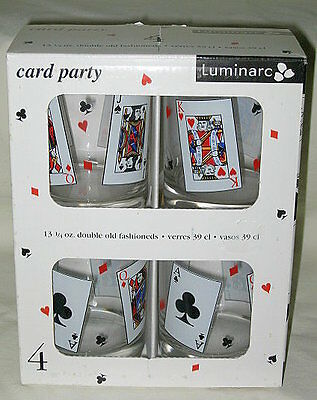 Cristal d'Arques Card Party Pattern Double Old Fashioned Glass Boxed Set of 4