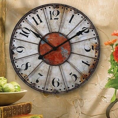 FRENCH TUSCAN ANTIQUE Wall or Mantel OLD WORLD CLOCK