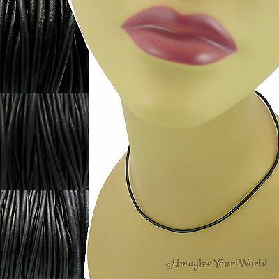 BLACK Custom LEATHER Cord Necklace / Choker - YOUR Size / Length - for pendant +