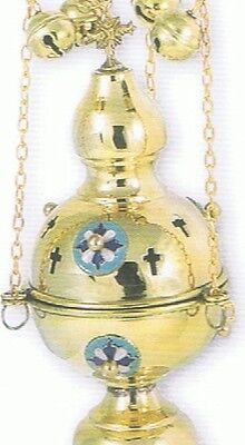 Orthodox Christian Byzantine New Brass Church censer with enamel crosses