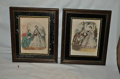 VINTAGE pair 1944 LA MODE VICTORIAN PRINTS FRAMED PICTURES 56 RUE JACOB PARIS