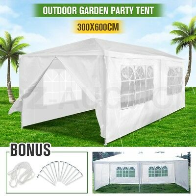 Outdoor White Gazebo Marquee Canopy Party Wedding Tent 3x6m Folding Carport