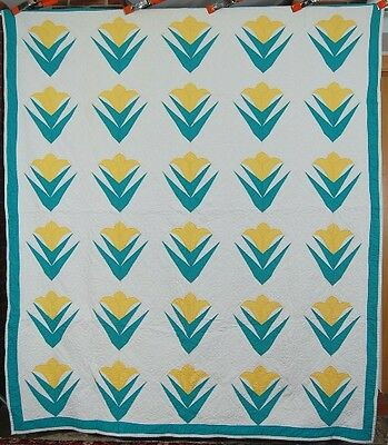 MATCHED PAIR of  30's Deco Floral Hand Stitched Green & Yellow Antique Quilts!
