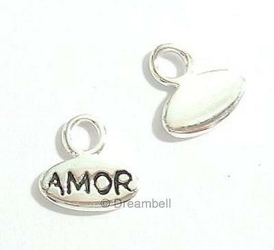 "2x Bright Sterling Silver Little Round Dangle Charm ""amor"" 8.2mm scp271w"