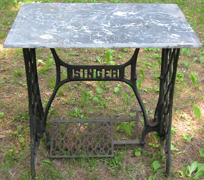 Antique Architectural Garden Singer Sewing Marble Granite Top Patio Table Stand