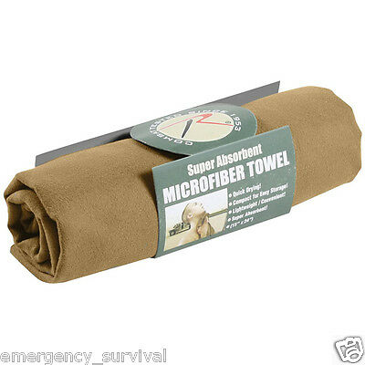 COYOTE BROWN Compact Sports Hiking Camping Travel Fast Drying Microfiber Towel