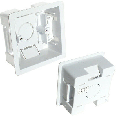 35mm Deep Single Plastic Dry Lining Back Box - 1 Gang Wall Flush Mount Pattress