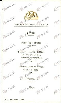 1958 FREEMASONRY LONDON (UK) Lodge no. 512 J. LYONS & CO LTD Menu