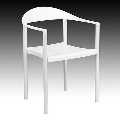 White Plastic Indoor & Outdoor Restaurant Dining Stack Chair w/ 500 lbs capacity