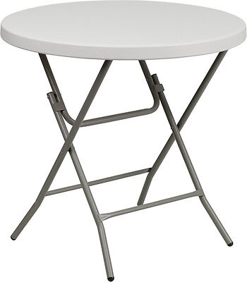 Lot of 6 32'' Round White Plastic Cocktail Reception Folding Tables