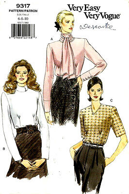 Very Easy Very Vogue 9317 Misses'/MP Blouse Pattern Sizes 18-20-22