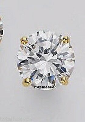1 Single 1.25ct Solid 14K Yellow Gold CZ Stud Earring Men HeavyDuty Premium Back