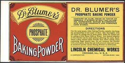 *Original* DR BLUMERS Phosphate BAKING SODA Chicago CAN Label NOT A COPY!!