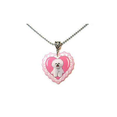 Bichon Frise and Pink Scalloped Heart Necklace Handcrafted Plastic Made in USA
