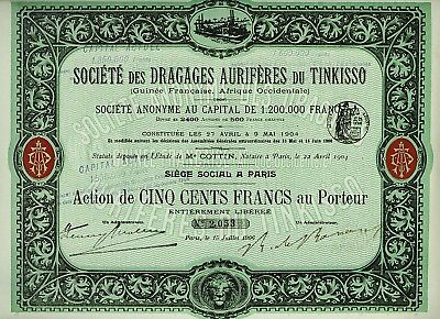 AFRICA FRENCH GUINEA Soc Dragages Auriferes du Tinkisso