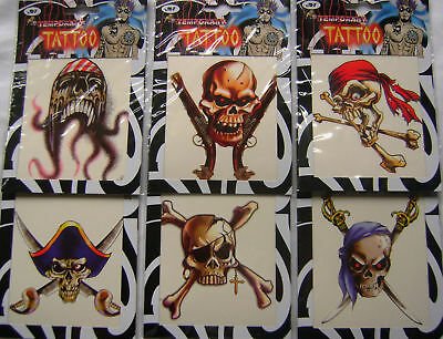 New 6  Large Pirate Temporary Transfer Single Tattoos Scary Skulls! Jlt