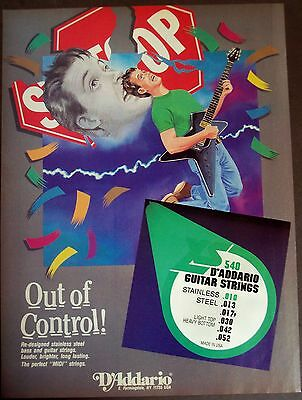 1987 original vintage art Ad D'Addario guitar strings Out of Control