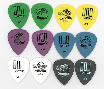 12 X Jim Dunlop Tortex TIII Guitar Picks Mixed Gauges T3 Plectrums USA