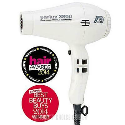 Parlux 3800 Ceramic Ionic Hair Dryer WHITE ECO Friendly Made in Italy