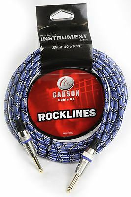 CARSON 20 Foot Guitar Lead / Instrument Cable *NEW* Noiseless Braided Blue
