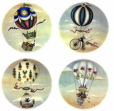 4 Steampunk Hot Air Balloon Sky Select-A-Size Waterslide Ceramic Decals Tx