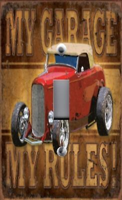 Light Switch Plate Outlet Covers MAN CAVE ~ My Garage My Rules ~ Red Vintage Car
