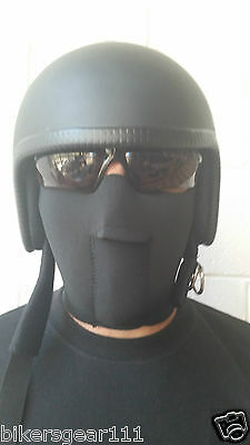 New Fitted Black Neoprene Biker Face Mask One Size Fits All Fully Adjustable
