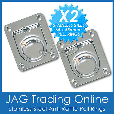 2 x STAINLESS STEEL ANTI-RATTLE FLUSH PULL RINGS - Boat Deck Cabin Hatch 65 x 55