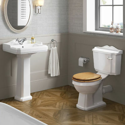 Traditional Pedestal Sink Basin & Close Coupled Toilet New Bathroom Suite CS629C