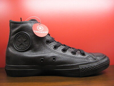 New Converse All Star Chuck Taylor All Black Leather OX HI Classic Shoes 1T405