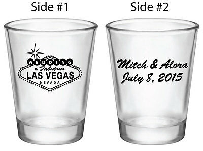 60 Personalized Las Vegas Wedding Favors Shot Glasses NEW Wedding in Vegas Logo