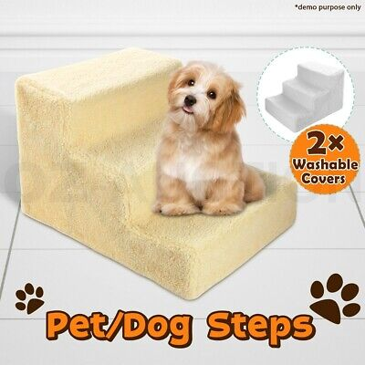 Pet Cat Dog 3 Steps Stairs Ramp Washable Soft Plush Cover Ladder Doggy Portable