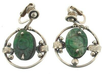 Antique Chinese Export Jade Sterling Hand Wrough Dangle Dropt Earrings Pretty
