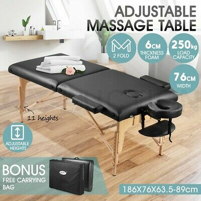 Portable 3-Section Aluminium Massage Table Bed Beauty Therapy Waxing 70 CM