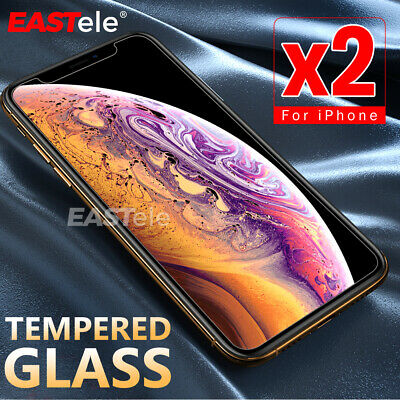 2x GENUINE EASTele Apple iPhone XS X AntiScratch Tempered Glass Screen Protector