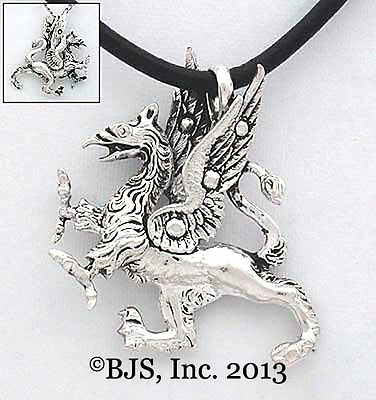 Silver Fancy Griffin Necklace, Griffin Jewelry, Fantasy Pendant, New, 3D