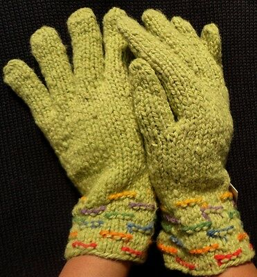 CARDED WARM 100/% ALPACA WOOL NEW ANDEAN HAND KNITTED GLOVES BLACK COLOR