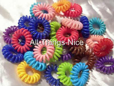 Party Bag Filler Kids Stretchy Plastic Coil HAIR BANDS Colourful Fun Joblot 20