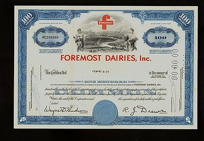Foremost Dairies Inc ( now Foremost McKesson) old stock certificate