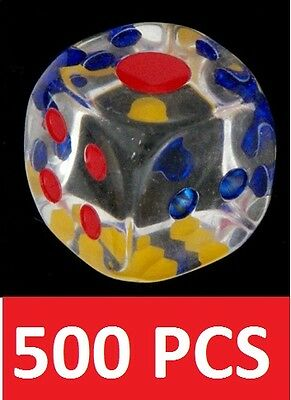 500 Clear 14 mm  Acrylic Transparent 6 Sided Casino Dice Rounded Round Corners