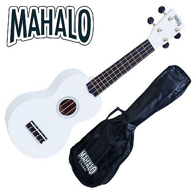 MAHALO White Soprano Ukulele MR1 inc Carry Bag Aquila Strings Fitted *New* Uke